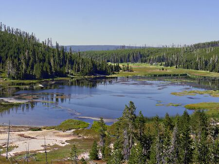 Breathtaking view of Nymph Lake along the road north of Norris Geyser Basin at Yellowstone National Park. Stock Photo