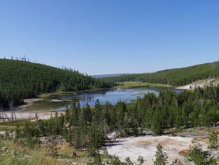 Beautiful view of Nymph Lake along the road north of Norris Geyser Basin in Yellowstone National Park.