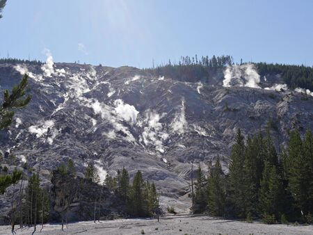Roaring Mountain with steam spewing from numerous fumaroles at Yellowstone National Park, Wyoming.
