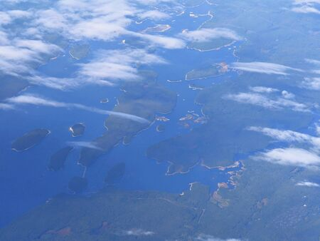 Aerial view of islands and islets dotting the East Coast, US.