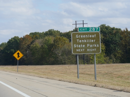 Roadside directional sign to Greenleaf Tenkiller State Parks  in Oklahoma.