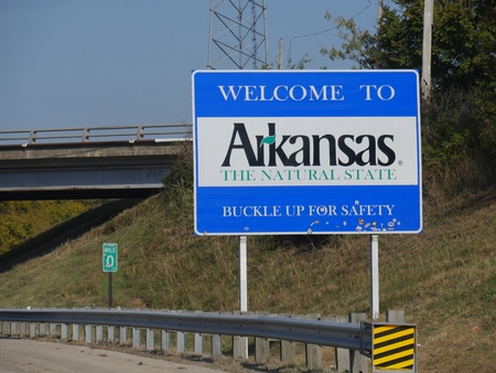 Welcome to Arkansas welcome sign at Highway 64 past Oklahoma border. Editorial