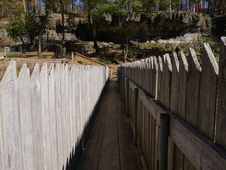 Wooden bridge with protection railings on both sides at a park Banco de Imagens