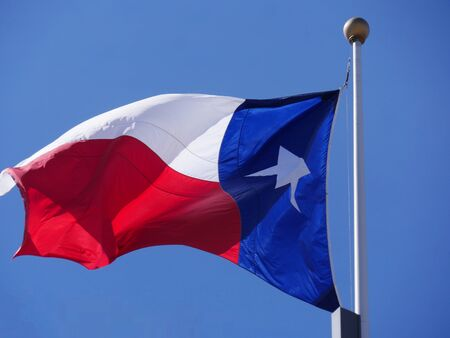 Close up of a Texas State flag on a pole Foto de archivo