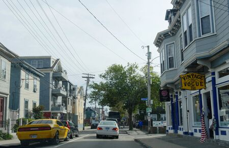 Newport, Rhode Island-September 2017: Quaint shops and stores at the Shopping District in Newport.