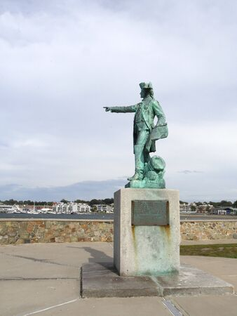 Newport, Rhode Island-September 2017: The Rochambeau Statue and Memorial at the Newport Harbor, Stock Photo