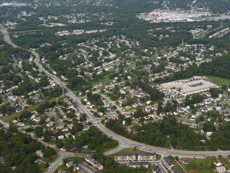 Baltimore, Maryland- September 2017: Medium wide aerial shot of the landscape in Baltimore, Maryland.