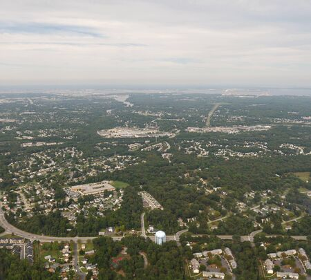 Baltimore, Maryland- September 2017: Wide aerial shot of the landscape in Baltimore, Maryland.