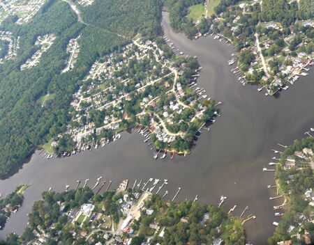 Baltimore, Maryland- September 2017: Curtis Creek aerial view in Baltimore, Maryland. 스톡 콘텐츠