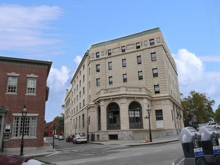 Newport, Rhode Island-September 2017: Street view of the Fifty Washington Square, an affordable housing community in Newport. Stock Photo