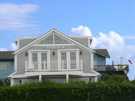 Newport, Rhode Island-September 2017: Facade of a beach house in Newport, RI.