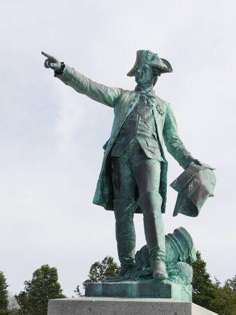 Newport, Rhode Island-September 2017: Close up shot of the Rochambeau Statue and Memorial at the Newport Harbor,