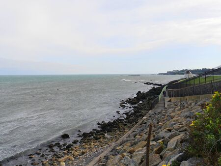 Newport, Rhode Island-September 2017: Scenic view with the Cliff Walk, one of the top attractions and activities in Newport.