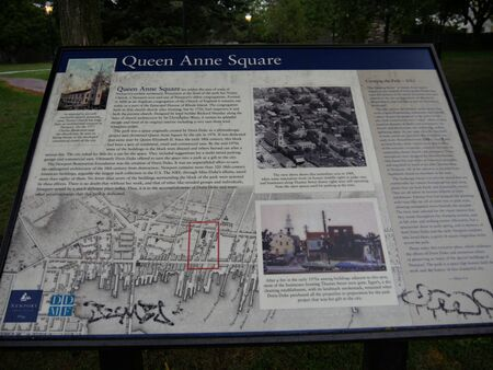 Newport, Rhode Island-September 2017: Close up of the information board and map at Queen Anne Square in Newport.