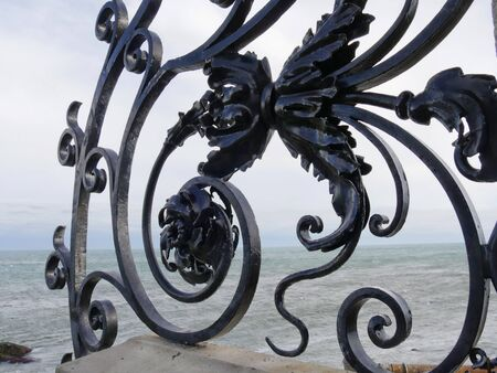 Newport, Rhode Island-September 2017: Close up of wrought iron design along the railings of the Cliff Walk in Newport.