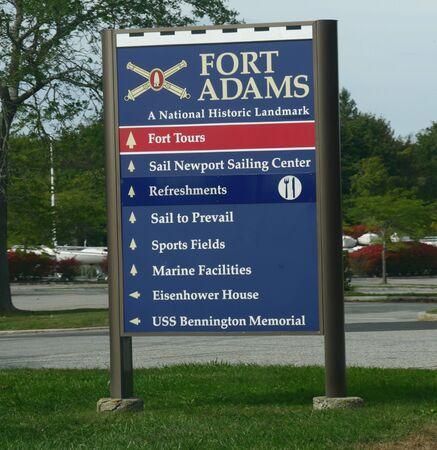 Newport, Rhode Island-September 2017: Close up of a roadside sign at Fort Adams, a National Historic Landmark in Newport.