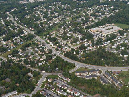 Baltimore, Maryland- September 2017: Aerial shot of the landscape in Baltimore, Maryland.