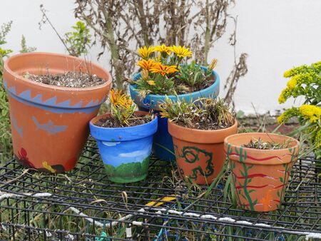 Jamestown, Rhode Island-September 2017: Colorful pots of flowers outside the Beavertail Lighthouse Museum in Jamestown.