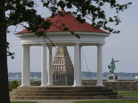 Newport, Rhode Island-September 2017: Close up of a gazebo at the King Park Brenton Cove at the Newport Harbor.