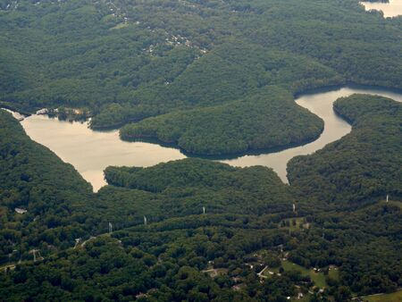 Aerial view approaching the Baltimore Washington International Thurgood Marshall Airport, Maryland.