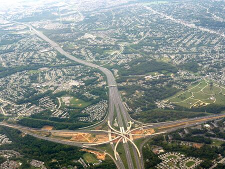 Aerial view of landscape and highways in Baltimore.