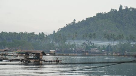 Floating fish pens at a fishing village, southern Philippines. 스톡 콘텐츠