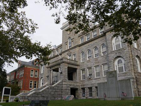 Newport, Rhode Island-September 2017: Medium close up, side view of the Newport City Hall building.