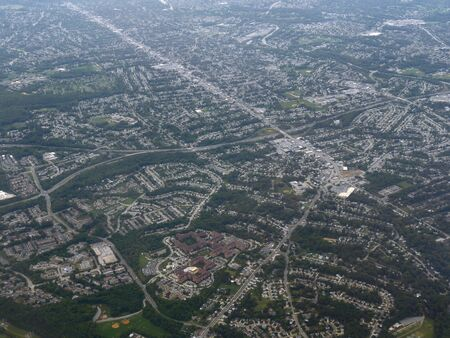 Aerial view of Baltimore approaching the Baltimore Washington International Thurgood Marshall Airport, Maryland.