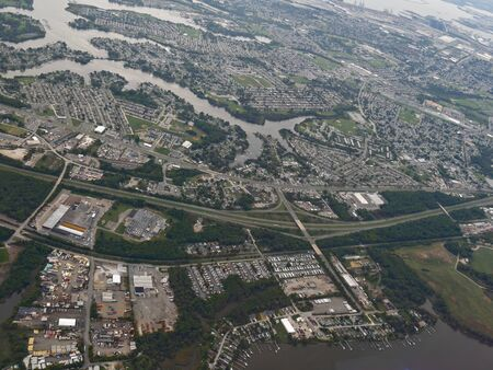 Baltimore, Maryland- September 2017: Aerial photo a few minutes away from the Baltimore Washington International Thurgood Marshall Airport