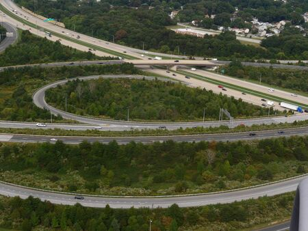 Baltimore, Maryland- September 2017: Vehicles travelling in various directions along the roads and highways in Baltimore.