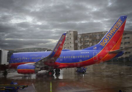Baltimore, Maryland- September 2017: A Southwest Airlines aircraft loading passengers at the Baltimore Washington International Thurgood Marshall Airport, Maryland. 에디토리얼