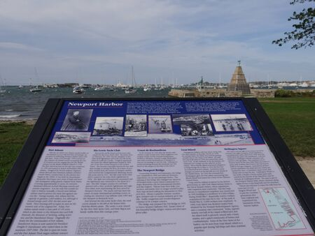 Newport, Rhode Island-September 2017: Information board at the Newport Harbor featuring the surrounding attractions.