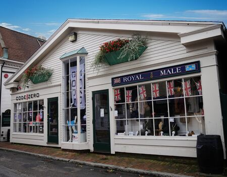 Newport, Rhode Island-September 2017: Code Zero and Royal Male shops at Spring Street in Newport.