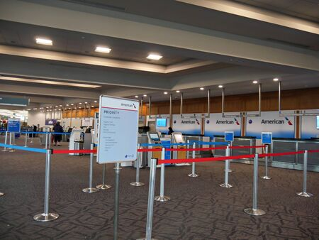 Newport, Rhode Island-September 2017: Fenced areas to the check in counters of American Airlines at the T.F. Green Airport in Warwick,  Rhode Island.