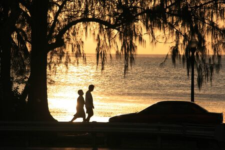 Silhouettes of a couple walking along the beach under a pine tree at sunset Archivio Fotografico