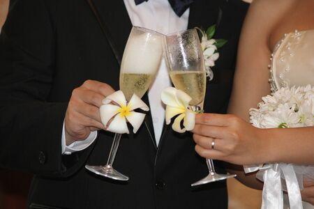 Bride and groom holding wine glasses to toast their wedding Standard-Bild