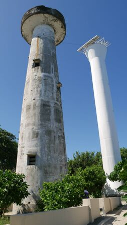 Old and the new lighthouses called Tres Marias in Cape San Agustin, Davao Oriental, the southeasternmost tip of the Philippines.