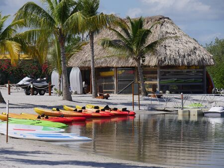 Harvest Caye, Belize- January 2018: Colorful kayaks lined up on the shore at Harvest Caye.