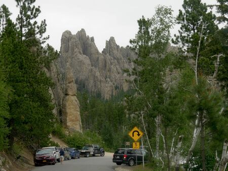 Custer State Park, South Dakota- July 2018: Cathedral Spires at Needles Highway, one of the most popular scenic routes in South Dakota.