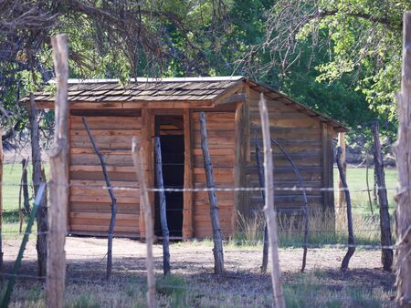 One of the restored wooden structures at the Grafton ghost town in Utah. 免版税图像