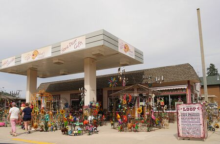 Hill City, South Dakota- July 2018: Assortment of souvenir items and handicrafts on display along the road in Hill City.