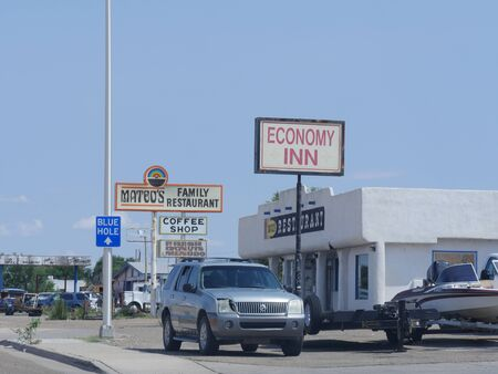 Sta Rosa, New Mexico- August 2018: Signs of a motel and restaurant along the road in Sta. Rosa.