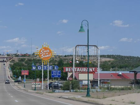 Sta Rosa, New Mexico- August 2018: Street photography with colorful signs of business establishments in Sta. Rosa.
