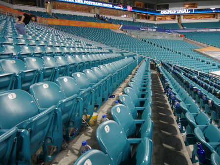 Miami, Florida- December 2018: Rows of empty seats after a football game at the Hard Rock Stadium in Miami. 新聞圖片