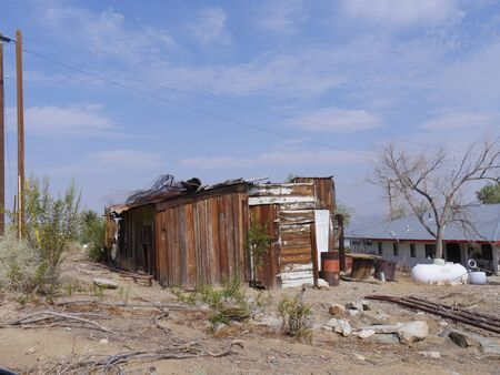 Remnants of a wooden structure left to ruins in Randsburg, one of the gold mining ghost towns in California.