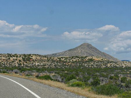 Beautiful landscape with a mountain in the distant close to the Wyoming-Montana stateline.