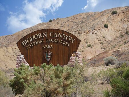 Bighorn Canyon, Wyoming- July 2018: Sign at the Bighorn Canyon National Recreatoin Area in Wyoming.