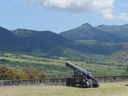 A canon facing the hills at the Brimstone Hill Fortress National Park Stock fotó