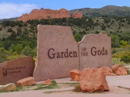 Concrete sign at the Garden of the Gods, a National natural landmark in Colorado Springs, Colorado.