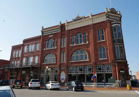GUTHRIE, OKLAHOMA—AUGUST 2015: One of the old buildings at the Guthrie Historic District in Guthrie, Oklahoma, a national historic landmark district.